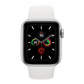 Купить Apple Watch Series 5 44mm Silver Aluminum Case with White Sport Band онлайн